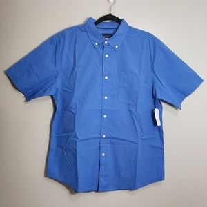 Basic Editions Blue Short Sleeve Button Down